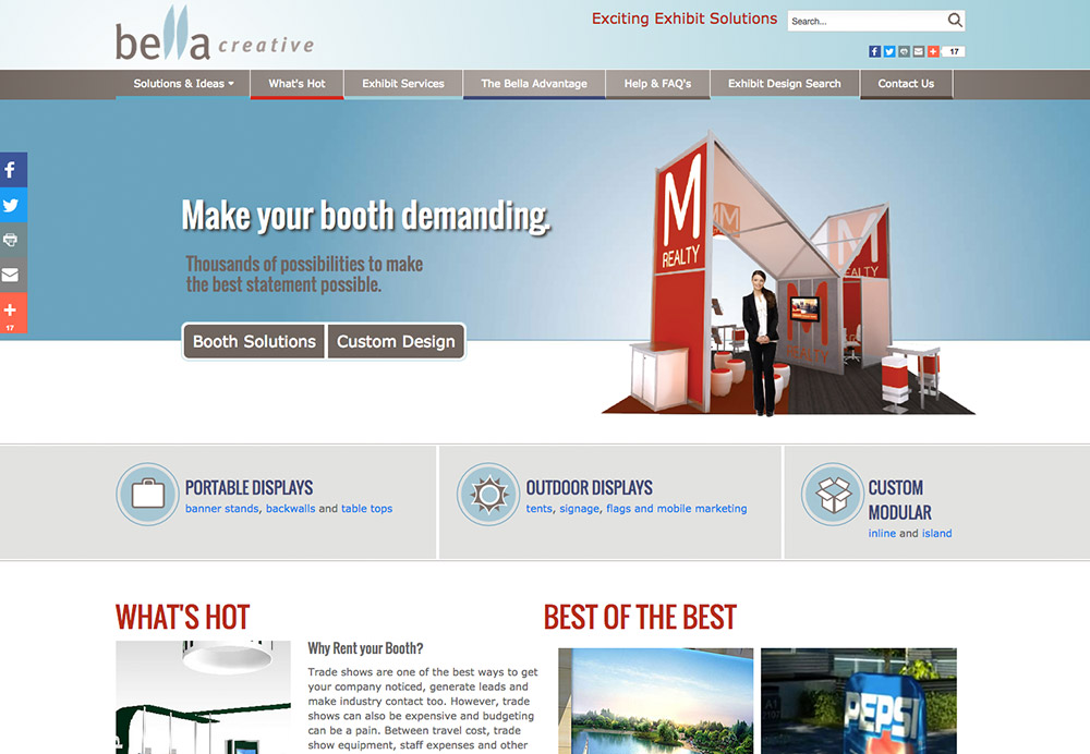 Corporate services booth exhibits web development