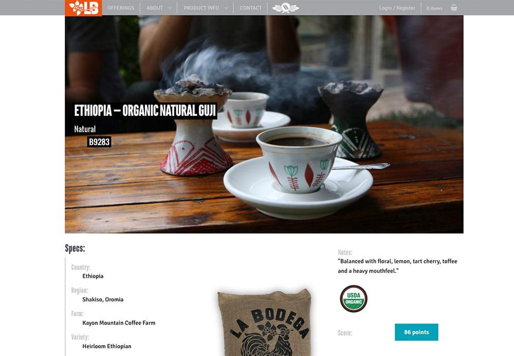 Coffee retail web site development